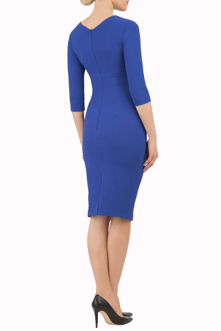 model wearing diva catwalk helston royal blue pencil dress with sleeves and cut out detail on the neckline back