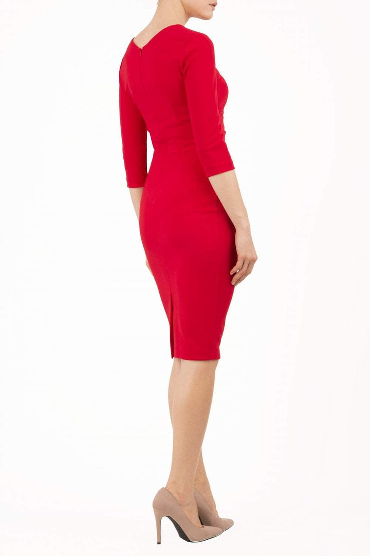 model wearing diva catwalk helston red pencil dress with sleeves and cut out detail on the neckline back