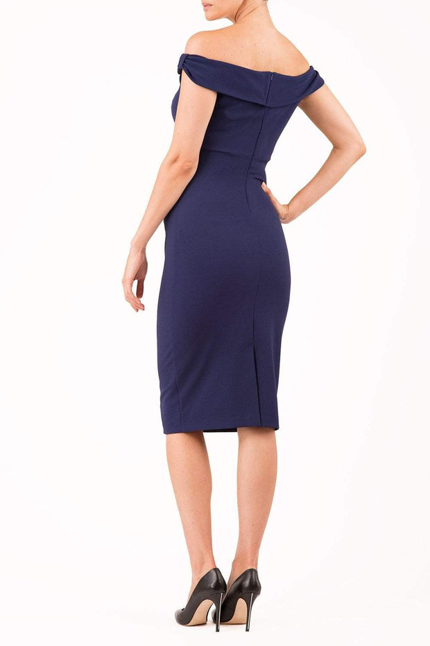Model wearing the Diva Cloud Luxury Moss Crepe dress with cold shoulder design in navy back image