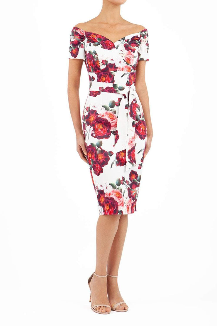 Manderley Stretch Satin Print Dress
