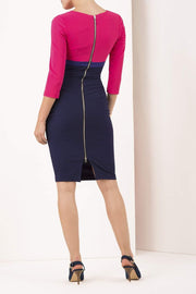 Nadia 3/4 Sleeve Colour Block Dress
