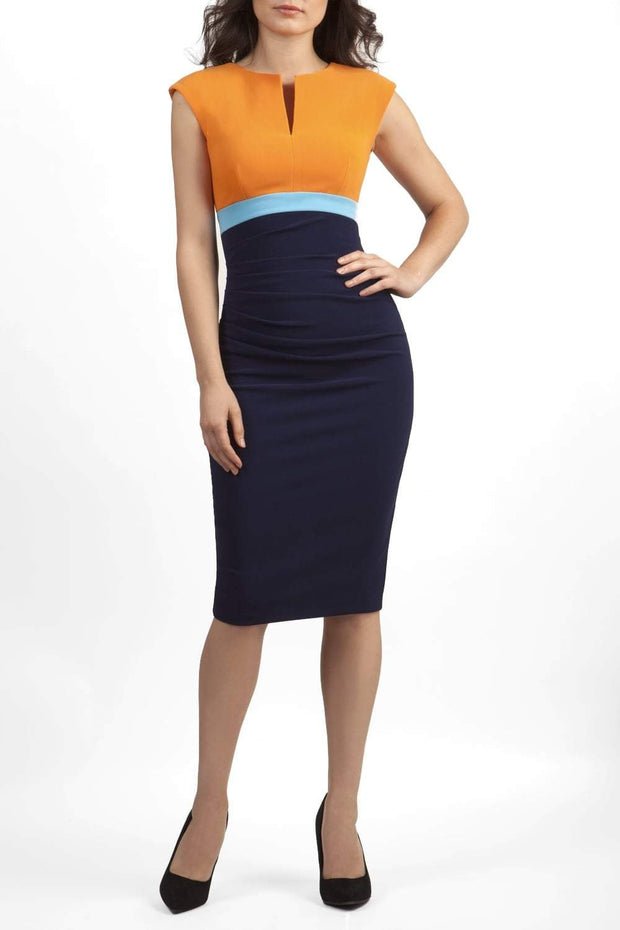 model wearing diva catwalk nadia colour block pencil-skirt dress in navy blue and sun orange front