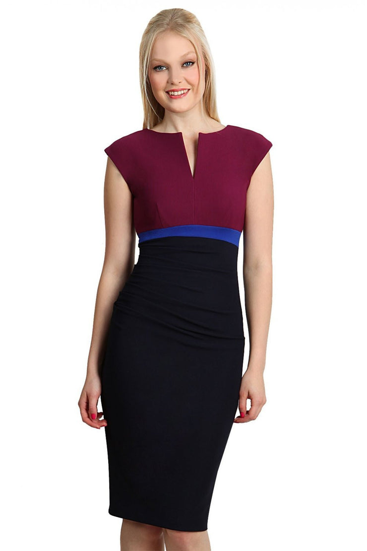 model wearing diva catwalk nadia colour block pencil-skirt dress in navy blue and wine red and cobalt blue front