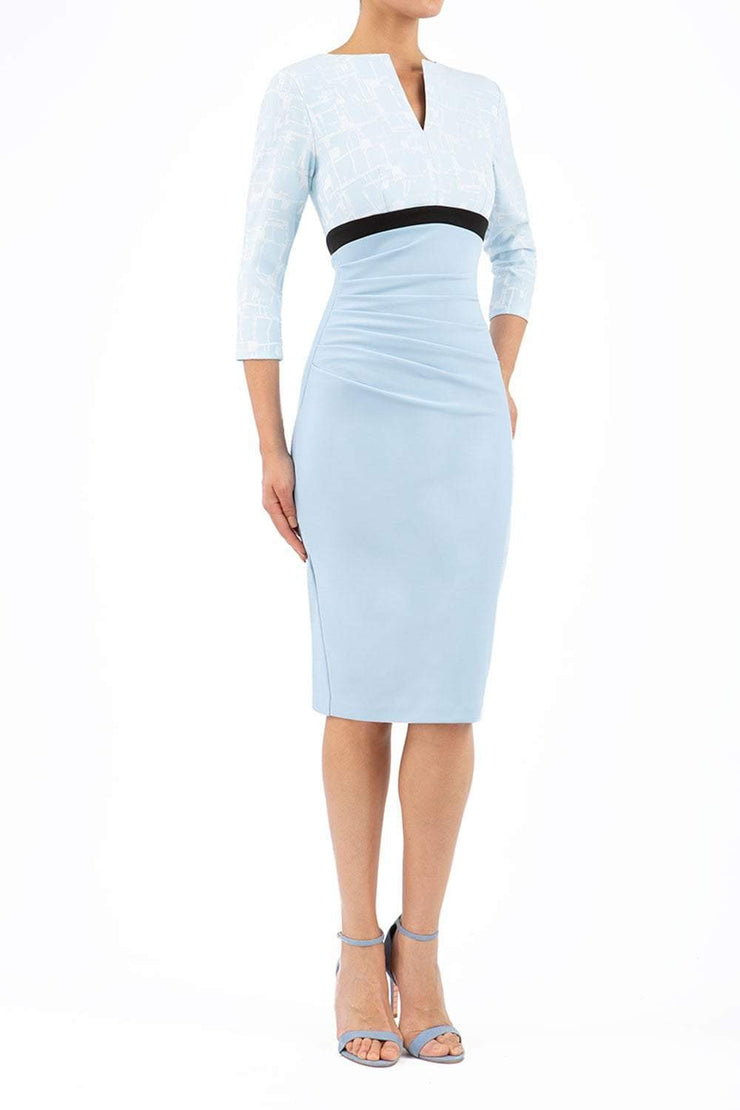 Nadia Jacquard 3/4 Sleeve Bi-Stretch Dress