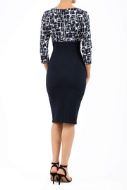 Nadia Jacquard 3/4 Sleeve Dress