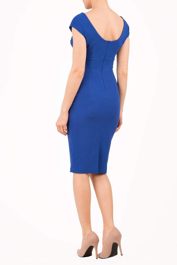 Model wearing Diva Catwalk Polly Rounded Neckline Pencil Cap Sleeve Dress with pleating across the tummy area in Cobalt Blue back