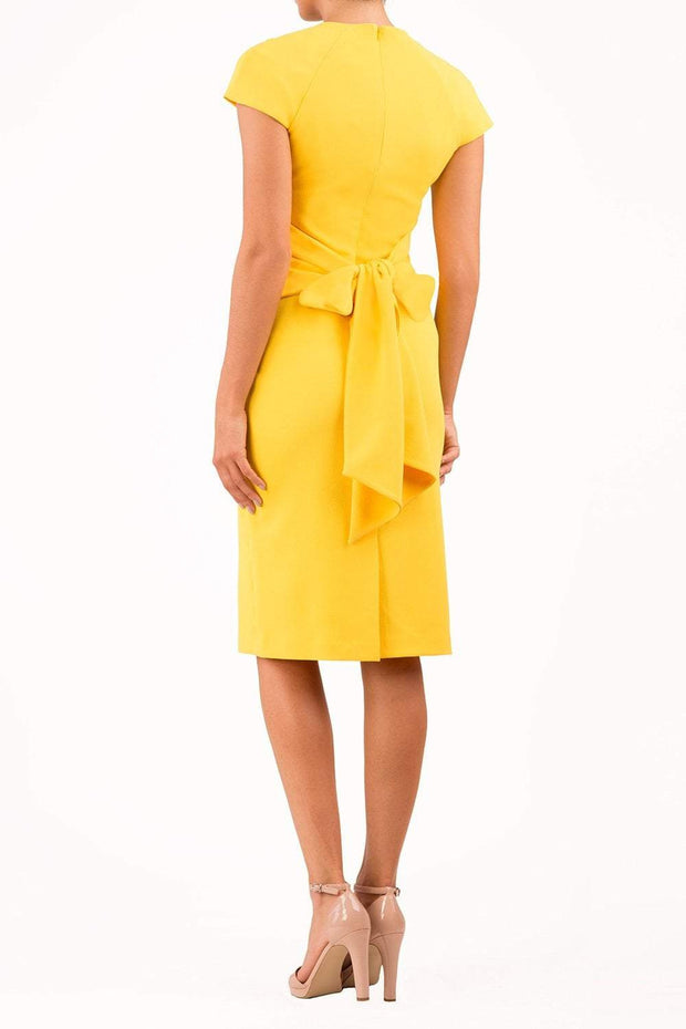Amal_clooney_yellow_dress_royal_wedding_pencil_dress_back_image_bow