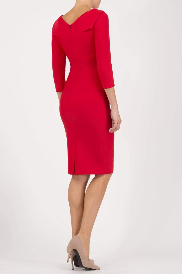 model wearing diva catwalk york pencil-skirt dress with sleeves and rounded folded collar and plearing across the tummy area in electric red colour back