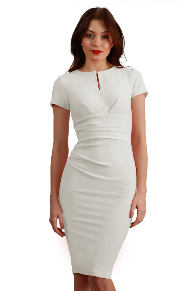 Model wearing Diva Catwalk Donna Short Sleeve Pencil Dress with a wide band and pleating across the tummy area in Ivory Cream front