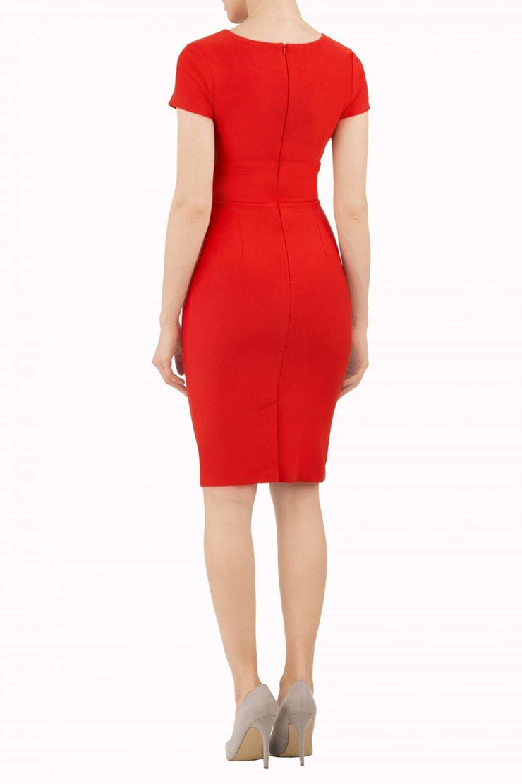 Model wearing Diva Catwalk Donna Short Sleeve Pencil Dress with a wide band and pleating across the tummy area in Electric Red back