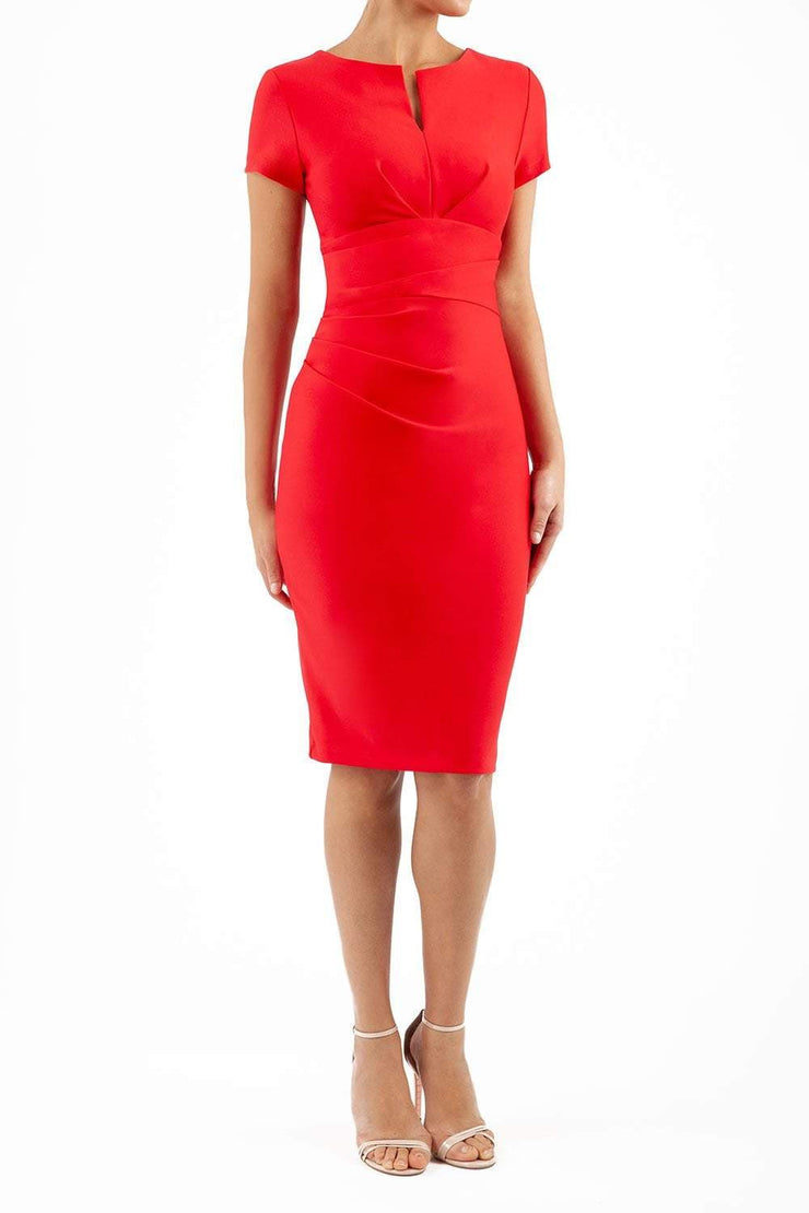 Model wearing Diva Catwalk Donna Short Sleeve Pencil Dress with a wide band and pleating across the tummy area in Electric Red front