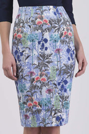 Model wearing the Diva Faith Print skirt in pencil skirt design in water garden print front image