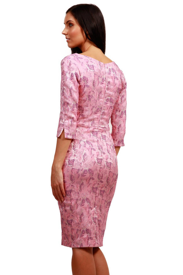 Model wearing the Diva Florianne Jacquard dress in pencil dress design in pink lavender back image