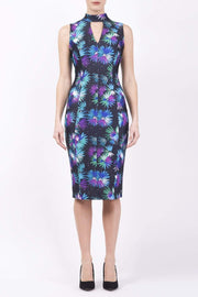 Model wearing the Diva Galway Print dress in pencil dress design in floral splash print front image