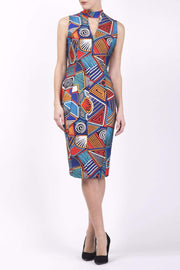 Model wearing the Diva Galway Print dress in pencil dress design in picasso geometric atomic print front image