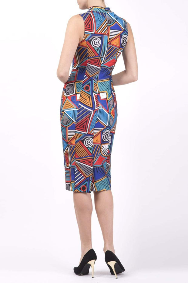 Model wearing the Diva Galway Print dress in pencil dress design in picasso geometric atomic print back image