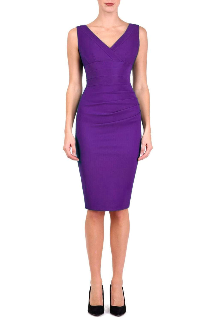 Model wearing the Diva Banbury gathered dress in bodycon pencil dress design in violet purple front image