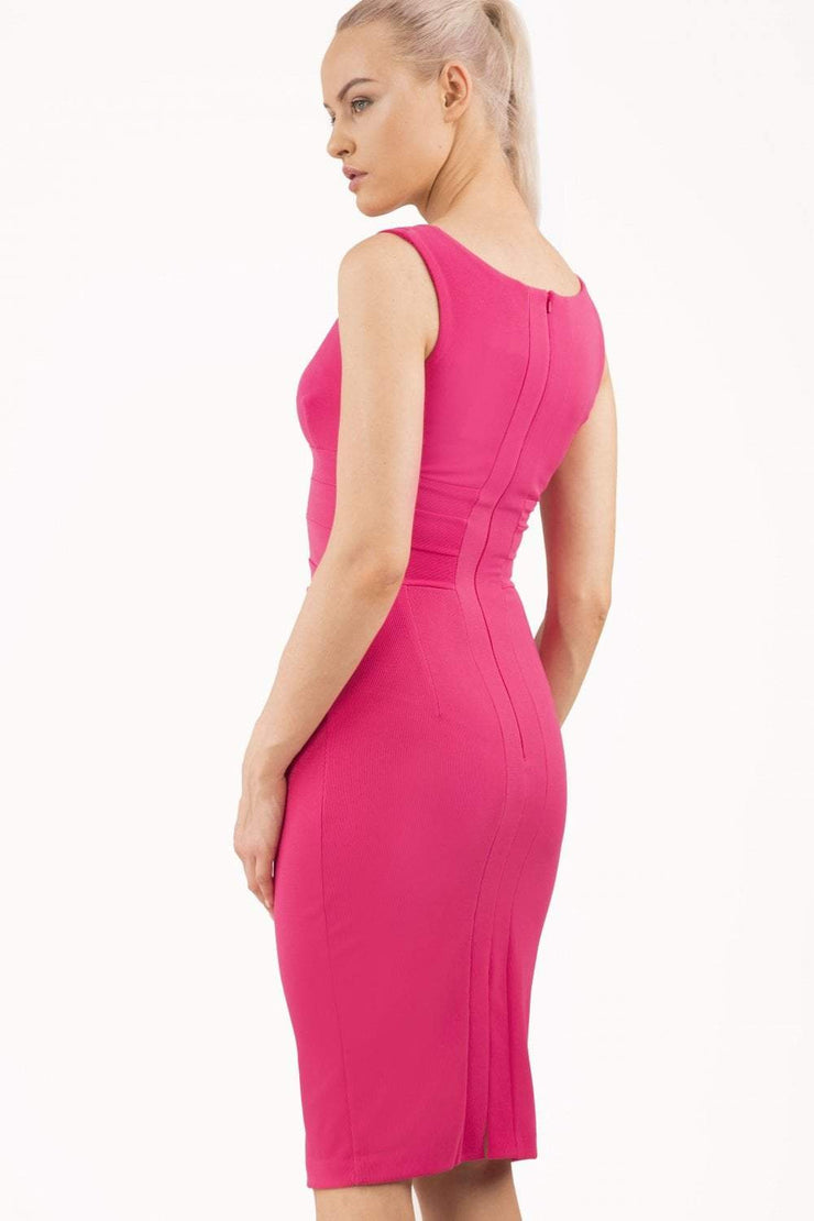 Model wearing the Diva Banbury gathered dress in bodycon pencil dress design in fushia pink back image