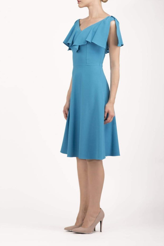 model wearing diva catwalk layla swing dress with bardot frill neckline in topaz front