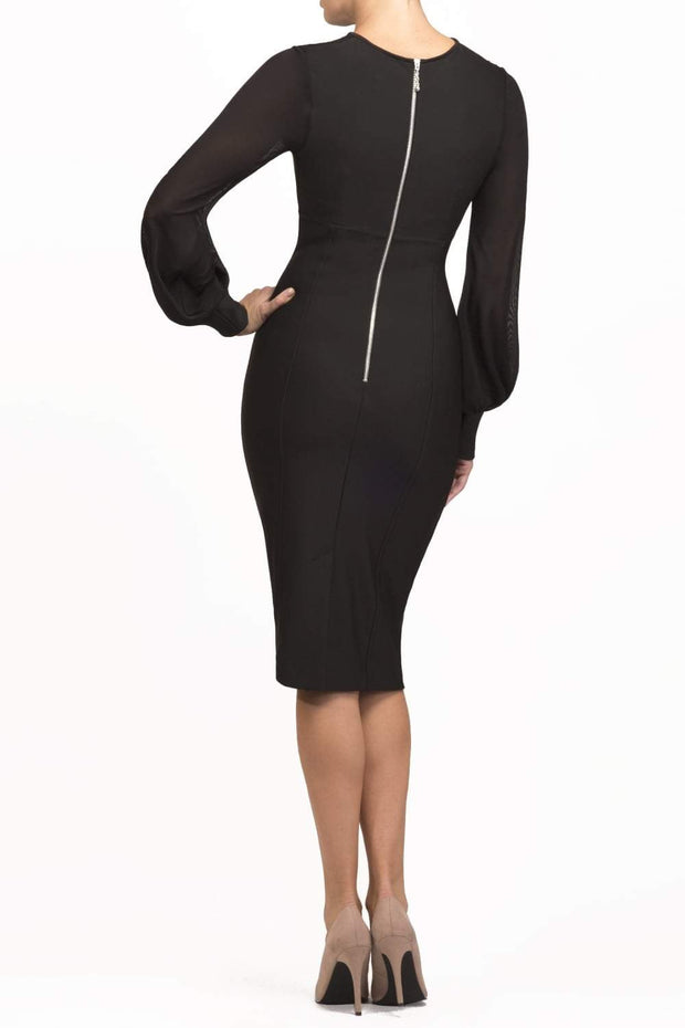 brunette model wearing diva catwalk black pencil dress with long sleeves knee length and mesh detail sleeves back
