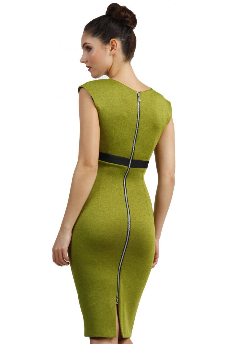blonde model is wearing dive catwalk nadia sleeveless contrast band pencil-skirt dress with rounded neckline with a slit in the middle in green back