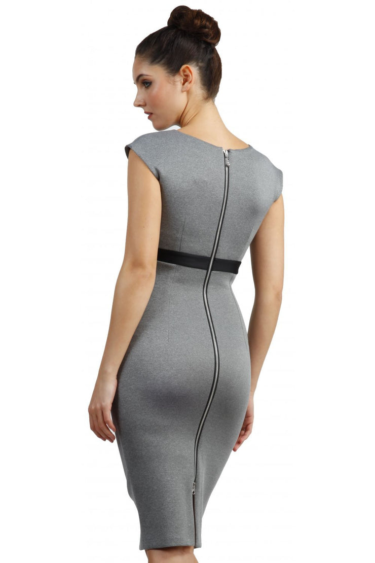 blonde model is wearing dive catwalk nadia sleeveless contrast band pencil-skirt dress with rounded neckline with a slit in the middle in grey back