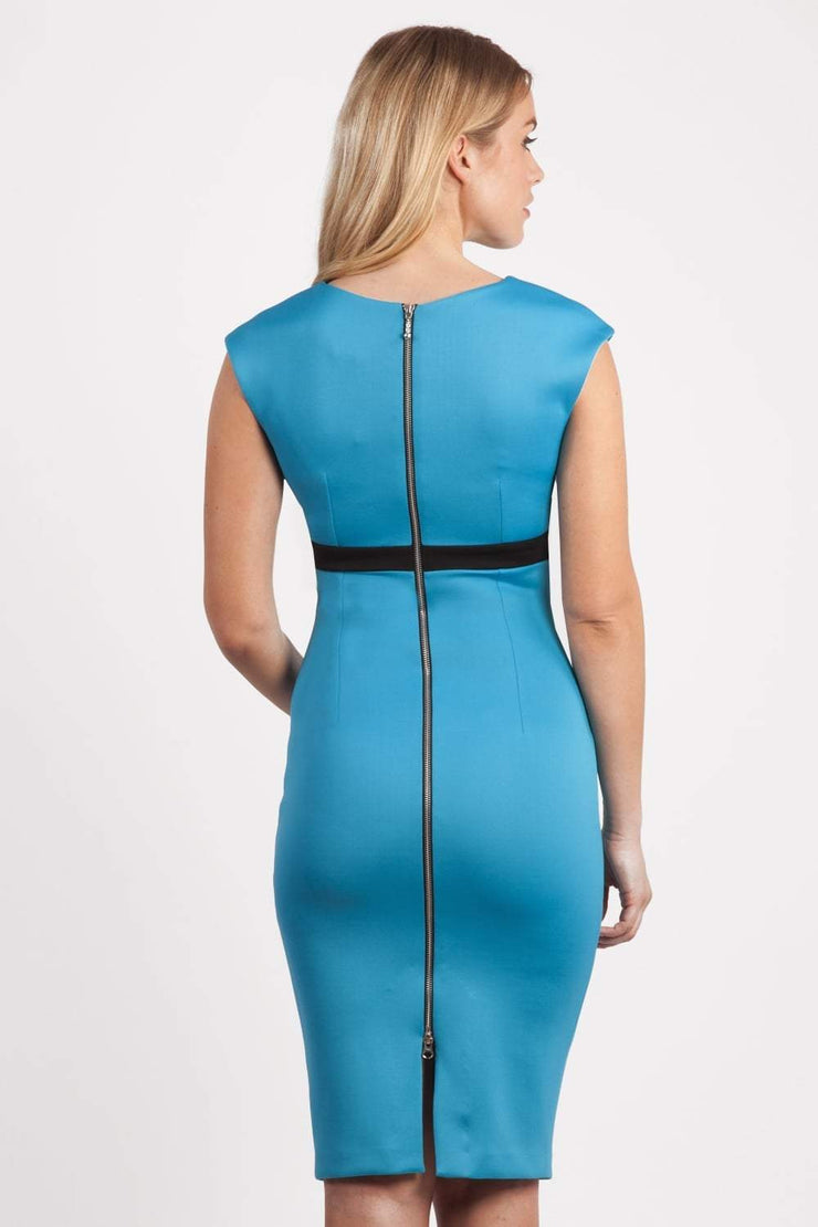 blonde model is wearing dive catwalk nadia sleeveless contrast band pencil-skirt dress with rounded neckline with a slit in the middle in blue back