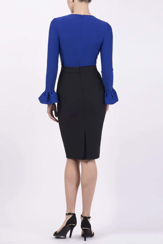Model wearing the Diva Pacific top  in cobalt blue colour back image