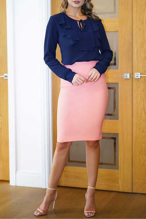 blonde model is wearing diva catwalk pencil skirt in peach front