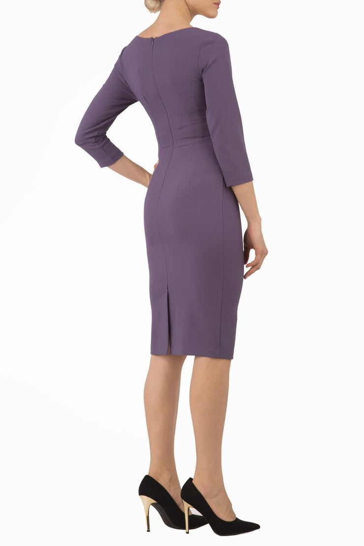 Model wearing the Diva Chelsea Pencil dress with V neckline and three-quarter sleeves in dark mauve back image