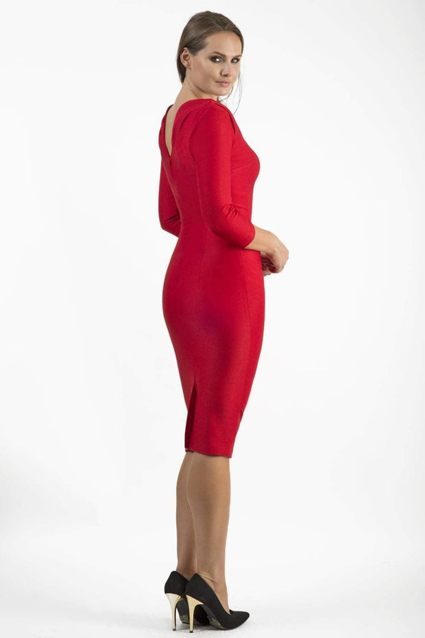Model wearing the Seed Agatha in pencil dress design in salsa red front image