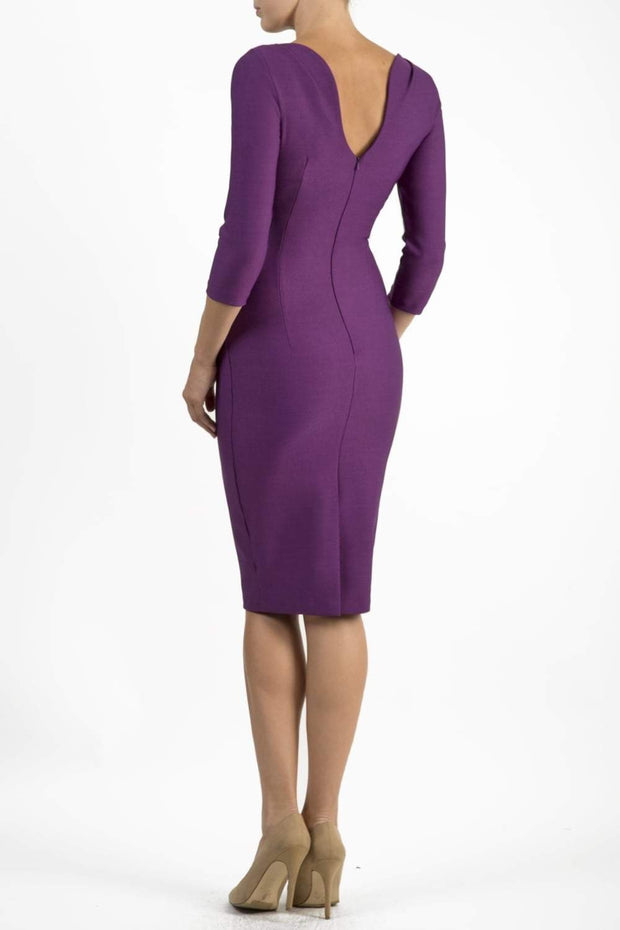 Model wearing the Seed Agatha in pencil dress design in royal purple back image