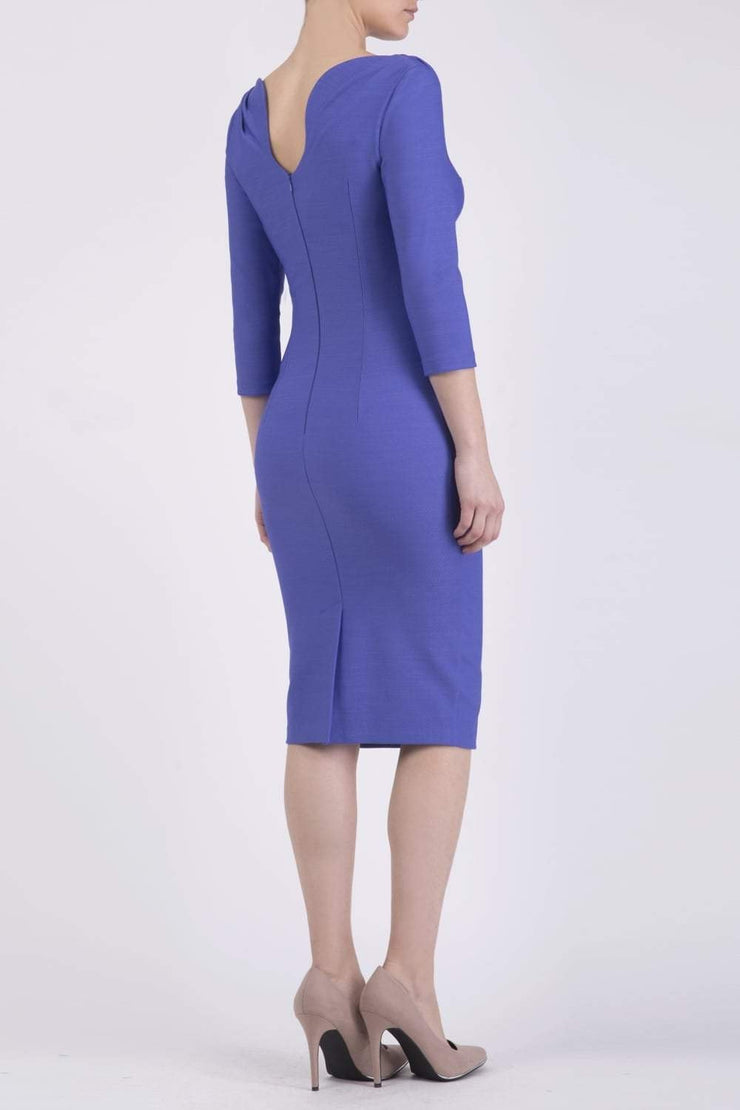 Model wearing the Seed Agatha in pencil dress design in dawn indigo back image