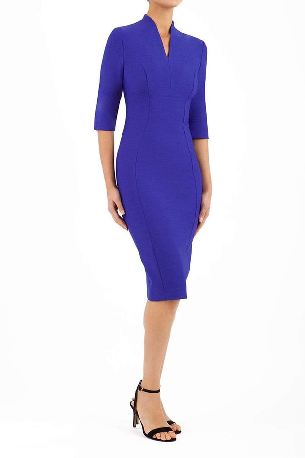 Model wearing the Seed Amalfi in pencil dress design in palace blue front image