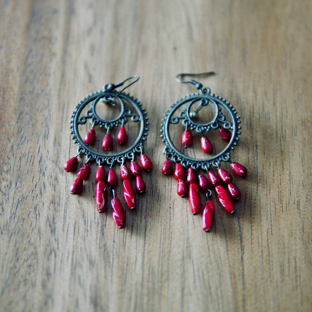 Rahmm Red Boho Earrings