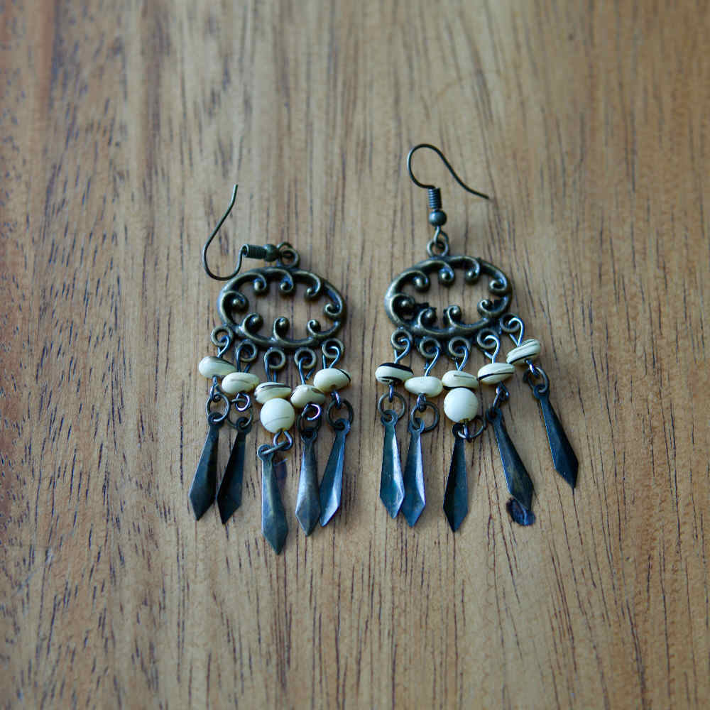 Ramintra White Boho Earrings