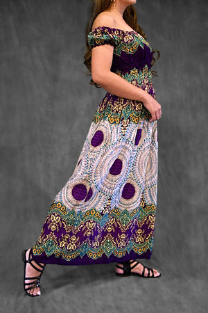 Jomtien Green Boho Long Dress