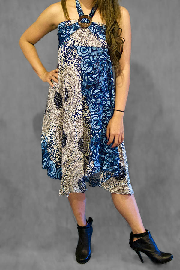 Bahra Blue Boho Convertible Dress