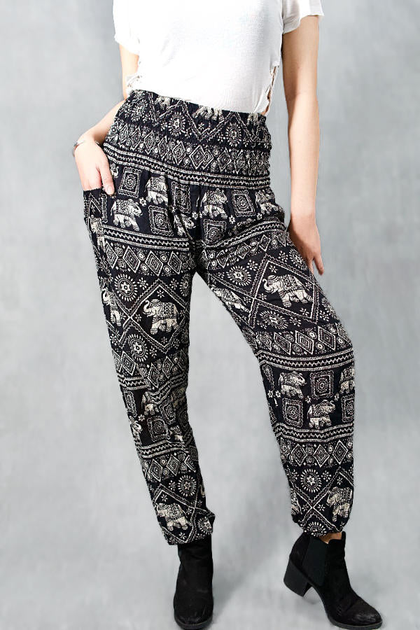 Jynn Black Elephant Harem Pants