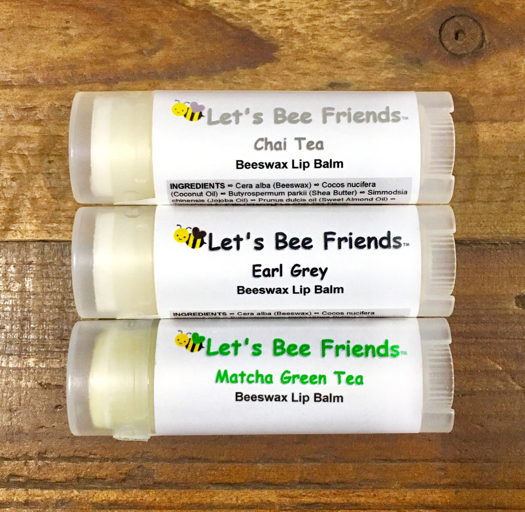 All natural and organic lip balm. Chai, Earl Grey, Matcha Green Tea