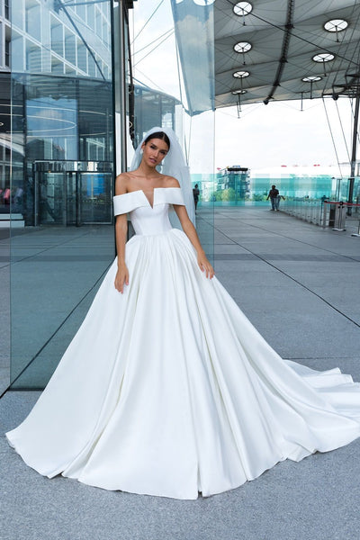 2019-white-satin-wedding-dress-with-off-the-shoulder