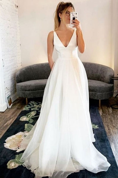 2020-casual-beach-wedding-dresses-with-v-neckline