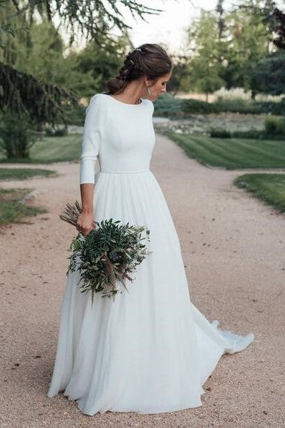 2021-simple-outdoor-bridal-dress-with-3-4-sleeves
