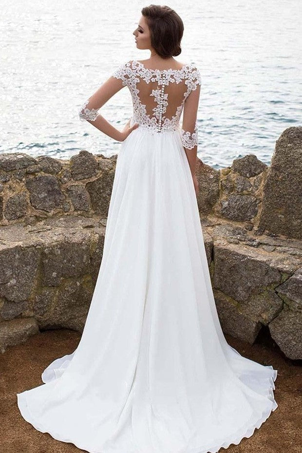 3-4-sleeves-lace-chiffon-bridal-dress-for-beach-weddings-1
