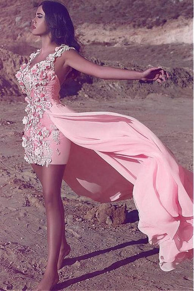 3d-flowers-lace-pink-short-prom-gown-with-chiffon-overskirt