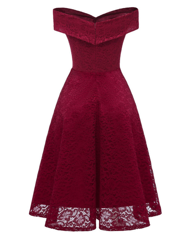 Burgundy Lace Bridesmaid Gown Short Party Dress with Off-the-shoulder