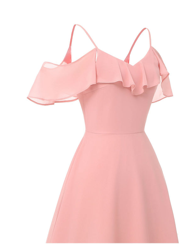 Flounced Long Pink Bridesmaid Dresses with Spaghetti Straps