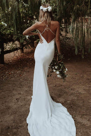 Open Back Simple Boho Bridal Dresses with V-neckline
