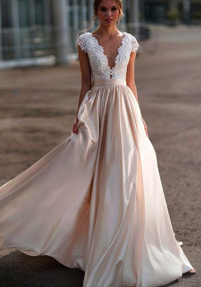 a-line-capped-sleeves-bridal-gown-with-satin-train