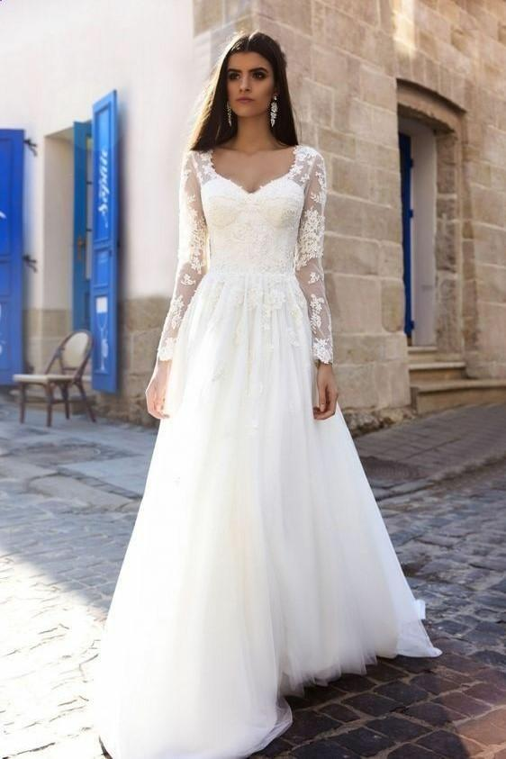 A Line Lace Long Sleeves Wedding Dress 2019 Spring Style